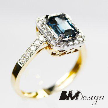 pierścionek z topazem i diamentami Rzeszów, pierścionek zaręczynowy  Blue topaz and Diamond engagement ring