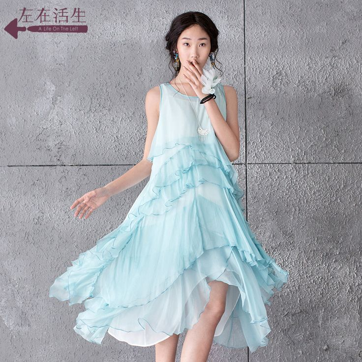 Condiții de viață în stânga 2015 primăvara și vara mătase rochie fără mâneci rochie de mătase literar 9521030065