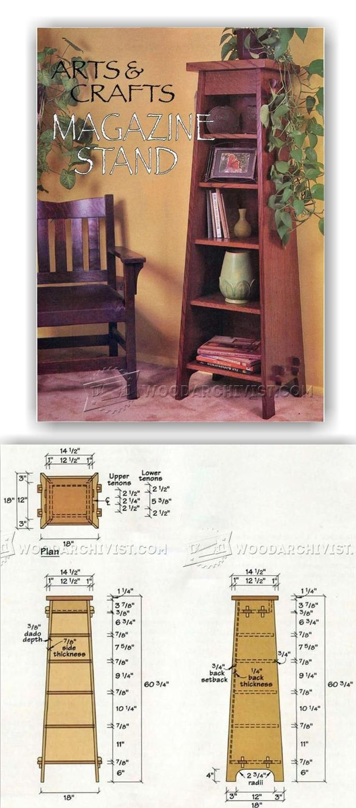 Arts and crafts furniture plans - Arts Crafts Stand Bookcase Plans Furniture Plans And Projects Woodarchivist Com