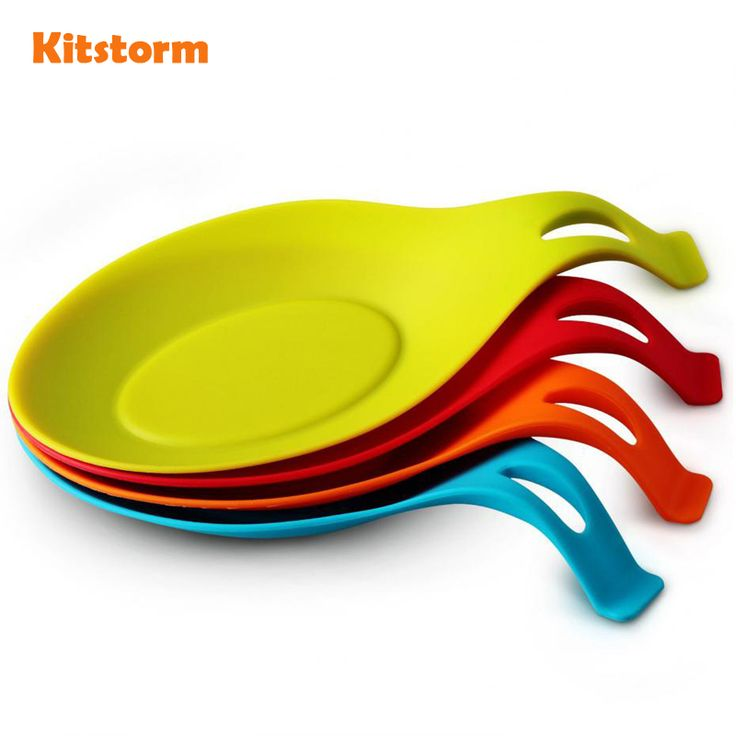 Kitchen Heat Resistant Silicone Spoon Rest Utensil Spatula Holder Kitchen Tool [Affiliate]
