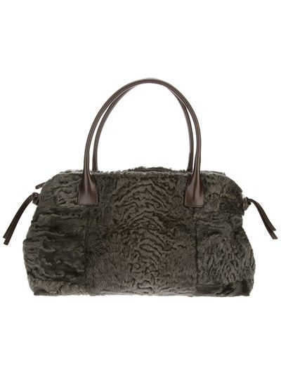BRUNELLO CUCINELLI - furry tote bag 7 . dark green . http://www.farfetch.com/shopping/women/brunello-cucinelli-furry-tote-bag-item-10528598.aspx