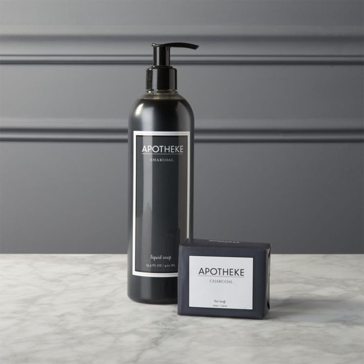 Shop apotheke charcoal soaps.   This handmade soaps boast a very unexpected ingredient—bamboo charcoal.  A natural exfoliant and cleanser, charcoal draws out impurities and disinfects.