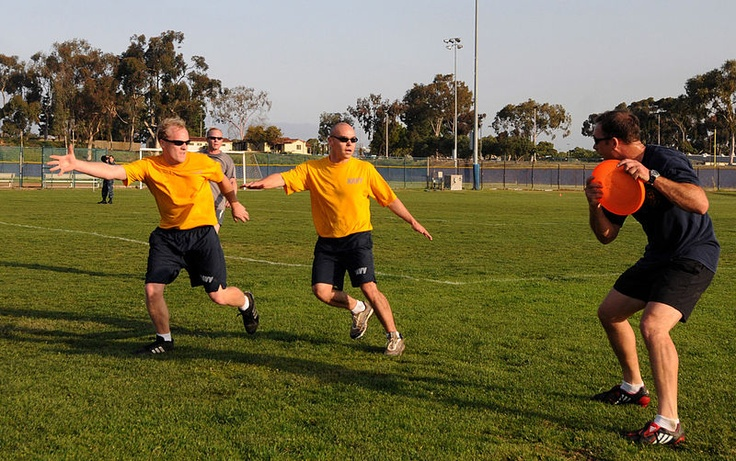 Ultimate frisbee:  Ultimate frisbee is an exciting game that borrows many of its thrills from American football or rugby; however, it uses a lightweight flying disc called a Frisbee.