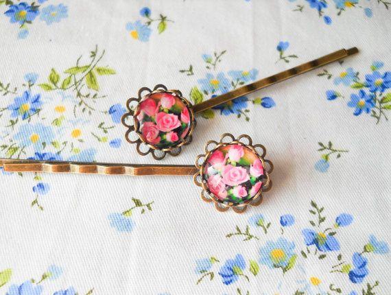 Glass Cabochon Hair Pins, Rose Hair Pins, Rose Bobby Pins, Vintage Hair Pins, Antique Bronze Bobby Pins, Rose Cabobchon, Flower, Floral