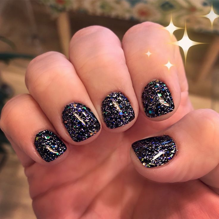 Glitter nails black sparkle glitter gel manicure Glitter nail art