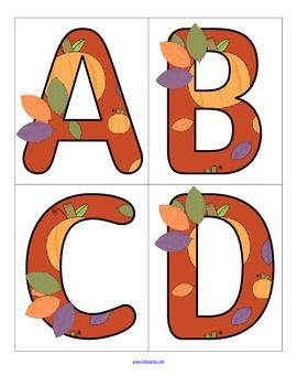 FREE - This is a set of large letters with a Fall/Autumn theme. Includes both upper and lower case. 4 letters to a page. Use to make matching and recognition games. Large enough for bulletin board and room décor.