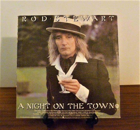 """$15  Vintage 1976 Rod Stewart """"A Night on the Town"""" Vinyl LP Album Released by Warner Brother Records / Retro Classic Rock Album / 70s Pop"""