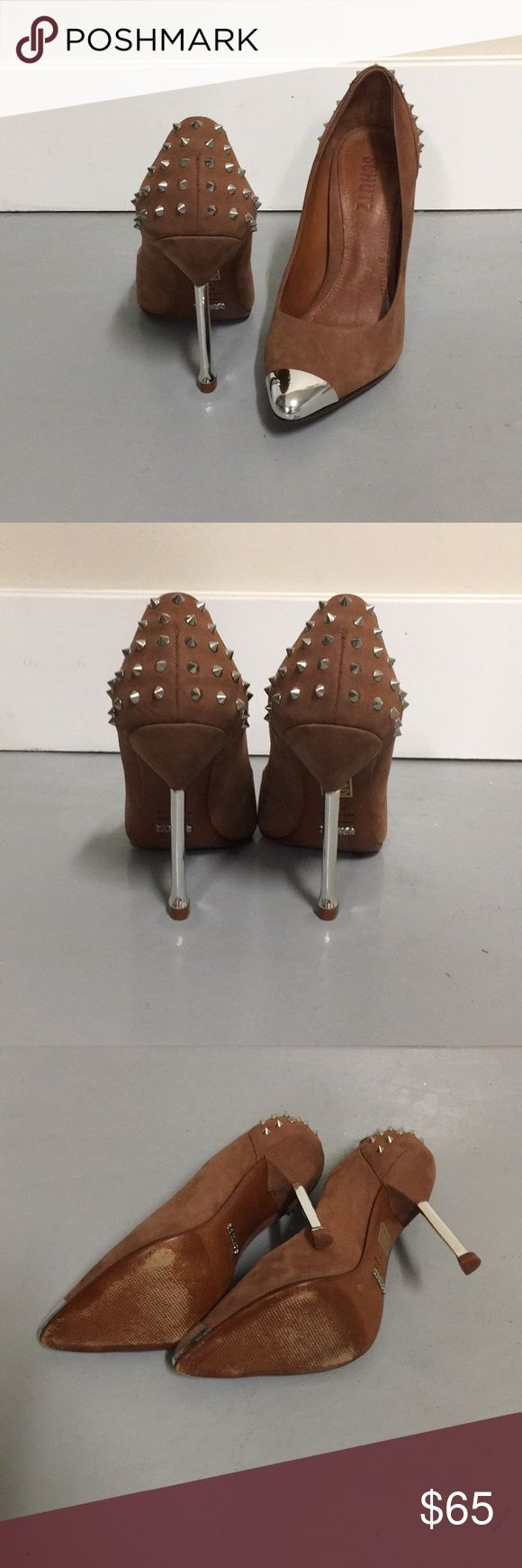 Schutz pumps Brown suede pumps with silver metal toe, silver metal spikes on heels and silver metal heel. They're size 6.5 but in my opinion they fit more like a 6. I'm a 6.5 and they're a little tight. SCHUTZ Shoes Heels
