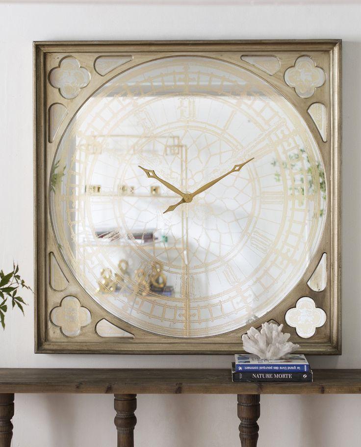 Large Mirrored Wall Clock u2013 Allissias Attic