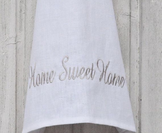 White linen embroidered Home Sweet Home kitchen towel by leonorafi