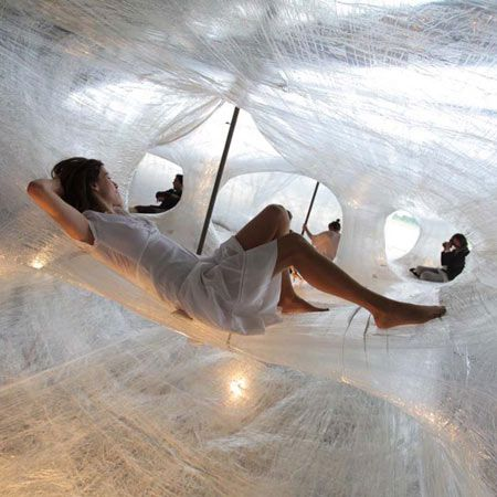 So cool spider webs :)  interactive installation made of packing tape from DMY Berlin