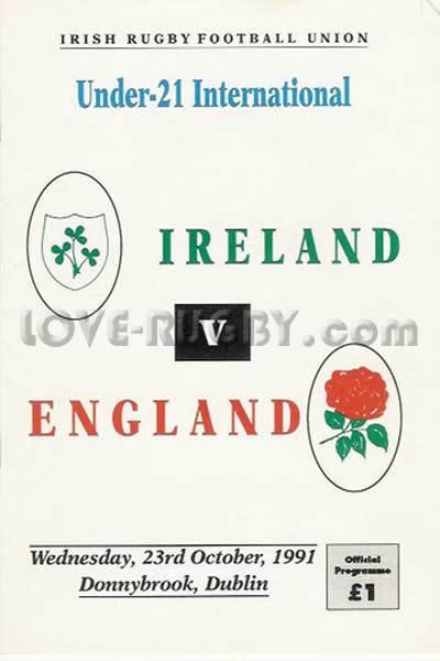 #rugby today 23/10 in 1990 : Ireland U2119-10 England U21- rugby programme