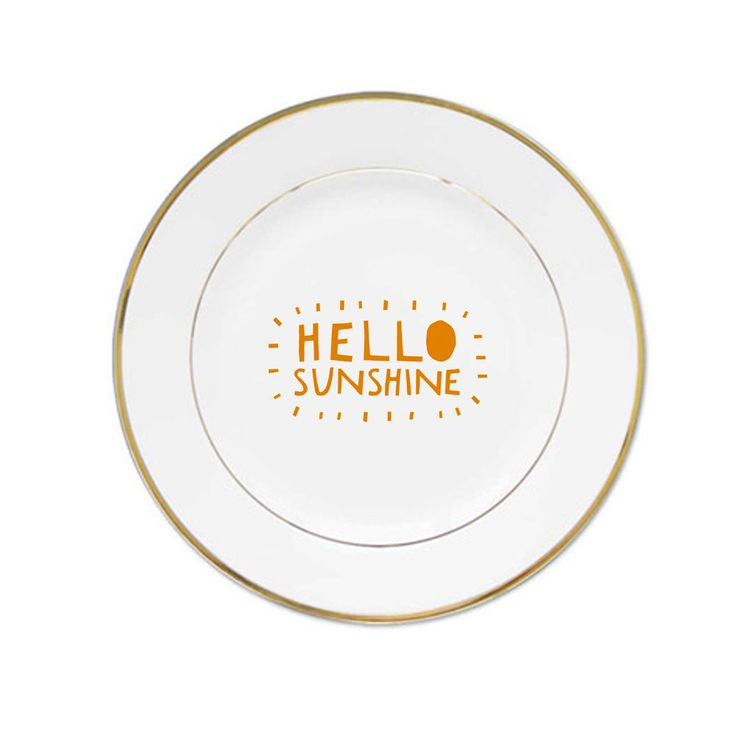 Hello sunshine quote porcelain plates #Handmade