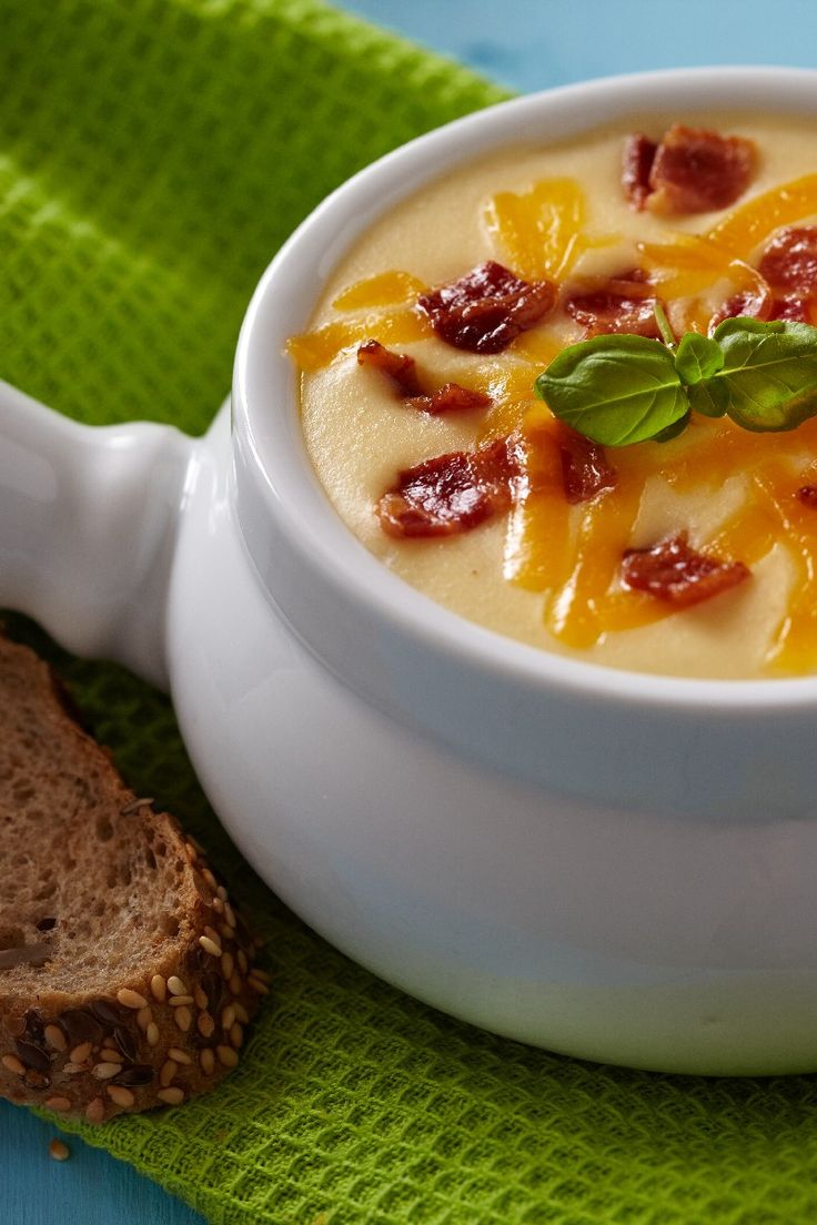 Baked Potato Soup #Recipe with Bacon and Cheddar Cheese