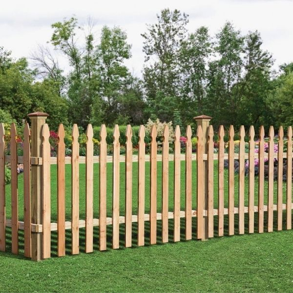 Incredible Wood Picket Fence Panels 3 12 Ft H X 8 Ft W Cedar Spaced French Gothic Fence Panel 63665 Wooden Fence Panels Wood Picket Fence Garden Fence Panels