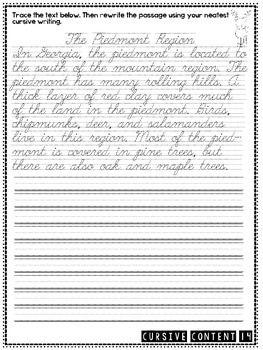 Cursive Content - Science Cursive Practice Passages | Science & SS