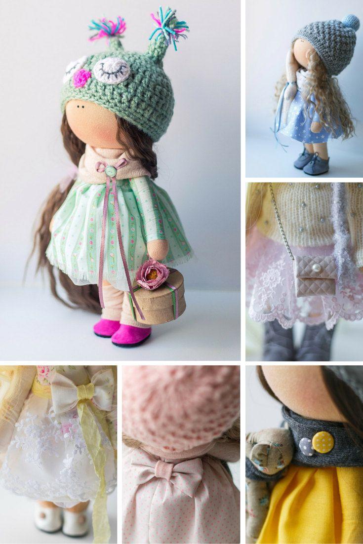 Green tilda doll Art doll handmade brown by AnnKirillartPlace