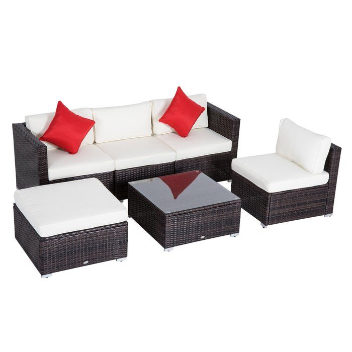 Barnett 6 Piece Rattan Sectional Seating Group with Cushions in 2019 ...