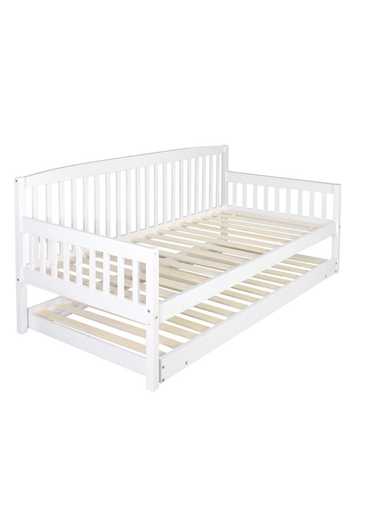 Featuring quality construction, it is built with timber slats, and solid pine wood and smooth finish edges. It is designed with a space saving pull-out trundle and can be used as two single beds when needed. * Wooden bed frame * Space saving pull-out trundle for your guests * Can be used as two single beds or sofa w/ footrest * Same heights for both bed & trundle * Foldable trundle legs for easy storage * Constructed with solid pine wood & quality timber slats * Stable & st...