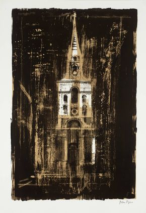John Piper '21. Christ Church, Spitalfields, London: by Nicholas Hawksmoor', 1964 © The Piper Estate