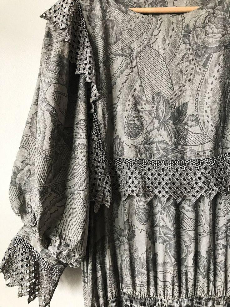 Grey Silk Vintage Dress
