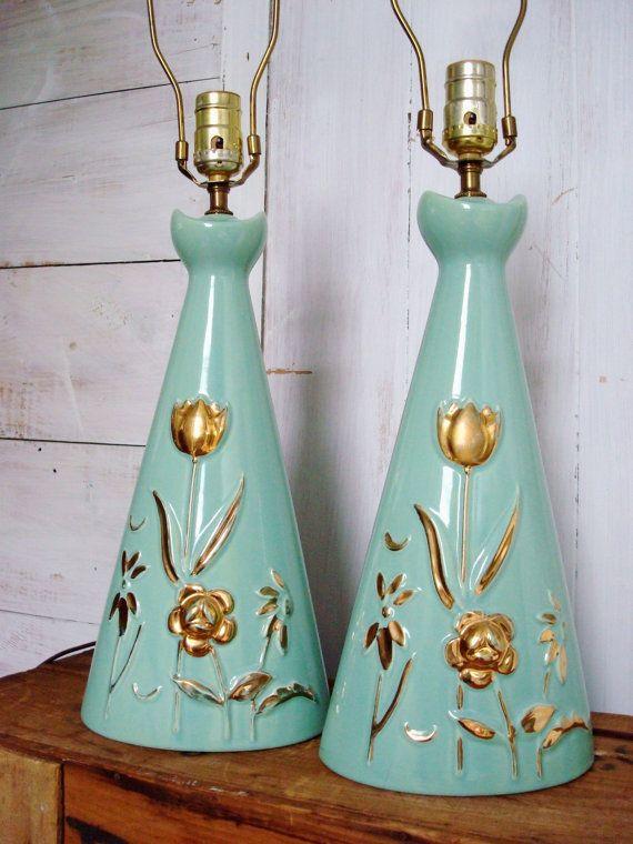 Vintage Mid Century Lamp Set  Turquoise and by thejabberwockyshop, $165.00