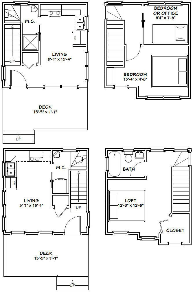 16x16 tiny houses pdf floor plans 466 sq ft 463 sq for Floor plan blueprints free