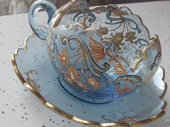 Antique Moser glass tea cup and saucer ~ Circa 1920