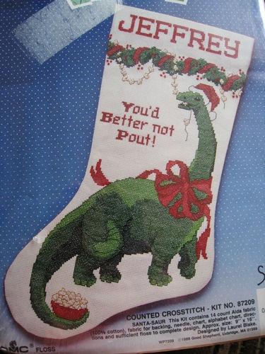 Christmas Holiday Counted Cross Stitch Stocking Kit, SANTA-SAUR,DINOSAUR,Size 16 | eBay