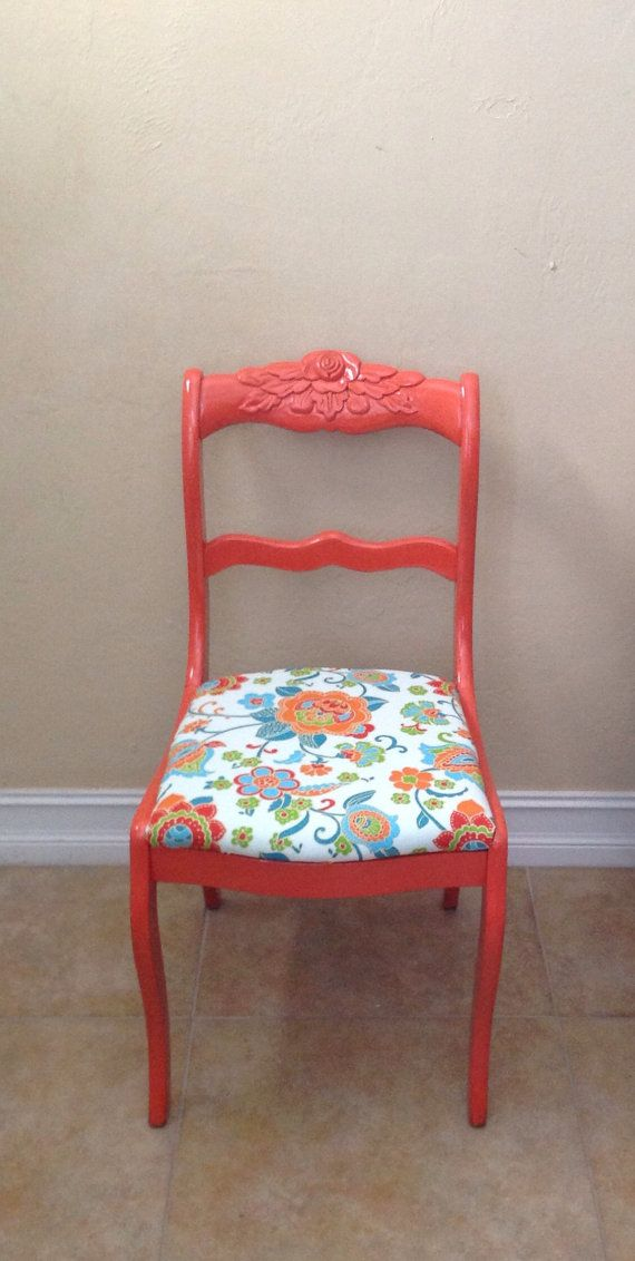 Duncan Phyfe style Chair.Orange Chair.Vintage Chair.Upholstered Chair.Dining Chair.Desk Chair.Side Chair.Home Decor.Accent Chair.Child Chair