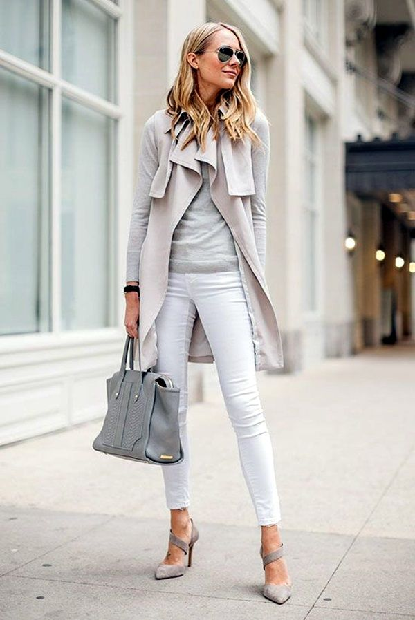 Great dress casual business attire look grey sweater with white jeans and gray heels.