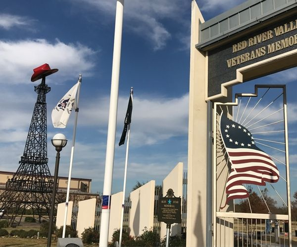 Paris, Texas, features a 65-foot-tall Eiffel Tower topped with a Texas-size red cowboy hat. Adjacent to the tower is the impressive Red River Valley Veterans Memorial. Be sure to drive three miles to the downtown square for great shopping.
