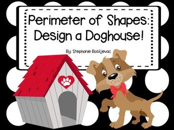This packet includes sheets for students to practice finding the perimeter of shapes with missing sides, measuring in cm to find the perimeter, identifying shapes, and a project where student create a doghouse by making a shape, measuring the sides, finding the perimeter, figuring the cost, and finally writing about their doghouse.