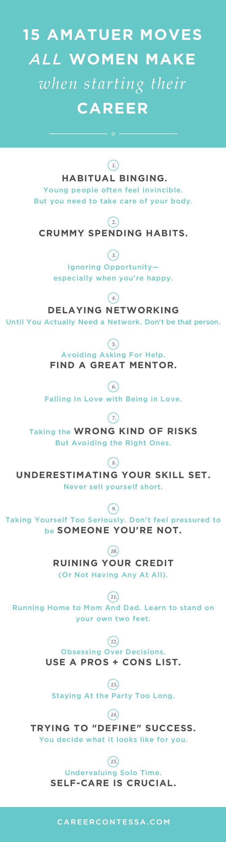 15 mistakes you *don't* want to make at work! Career advice for recent grads and young adults. Be successful at your job by not doing these things.