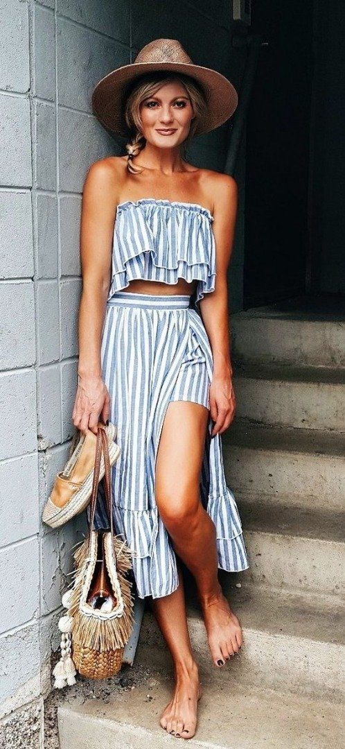 9ea8d43ae3 What is summer without a cute two piece striped outfit... What to Wear to  the Beach This Summer