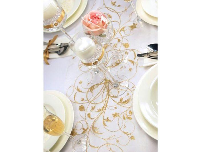 BIEŻNIK/organza kremowa Złote Ornamenty 36cmx9m #slub #wesele #sklepslubny #slubnezakupy #dekoracje
