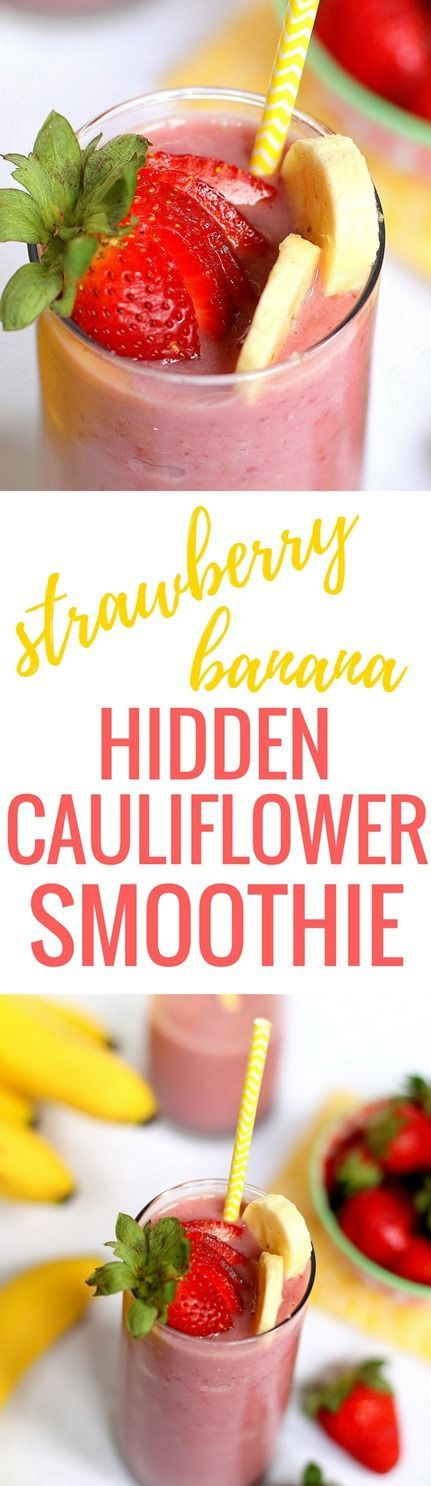 Strawberry Banana Hidden Cauliflower Smoothie http://www.pbfingers.com/hidden-cauliflower-smoothie/ Drink your vegetables (undetected!) with this Strawberry Banana Hidden Cauliflower Smoothie! Frozen cauliflower is the secret ingredient to this otherwise naturally sweet strawberry smoothie and will not alter the taste one bit. Frozen cauliflower increases the creaminess of the smoothie while providing a boost of vitamin C, potassium and fiber!