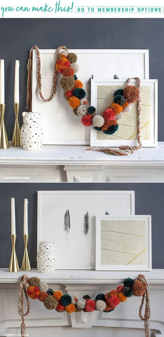 DIY Fall Pom Pom Garland www.LiaGriffith.com #pompomcrafts #pompoms #yarncrafts #garland #homedeocr #diyinspiration