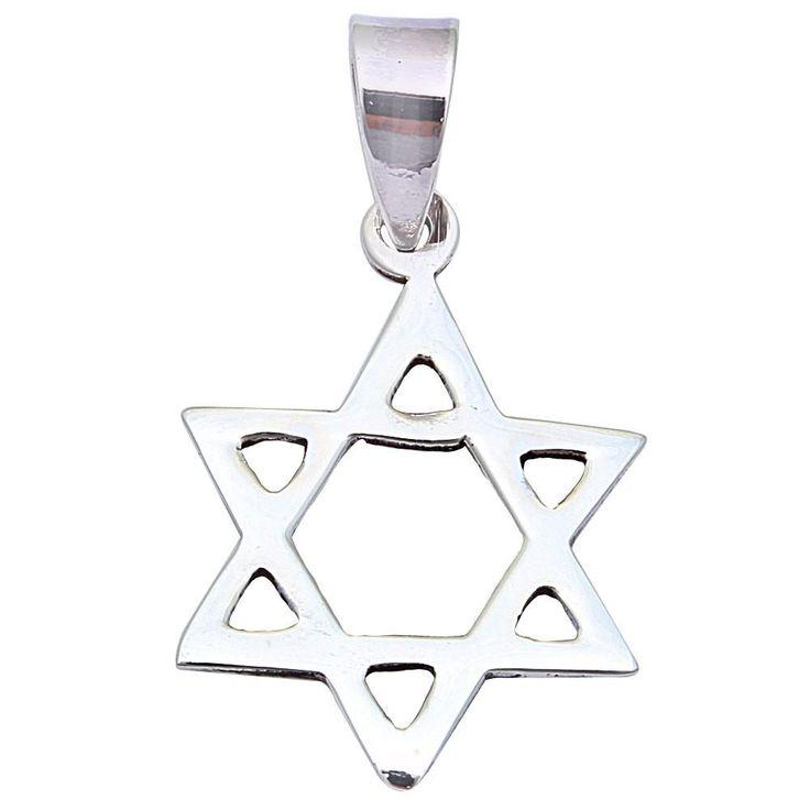 "1.3"" Star Of David Jewish Star Pendant Charm Solid 925 Sterling Silver Plain Simple Jewish Star of David Charm Star of david Jewelry"