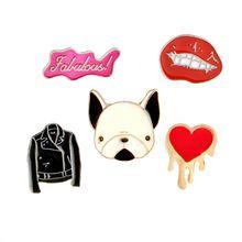 De dibujos animados Fabulosa Chaqueta de LA PU Labio Rojo Corazón Francés Bulldog Broche Botón Broche Chaqueta Vaquera Pin Insignia del Regalo de la Joyería de Moda(China)