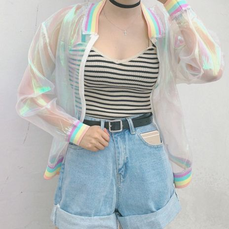 "Harajuku transparent organza rainbow tie-dye coat Coupon code ""cutekawaii"" for 10% off"