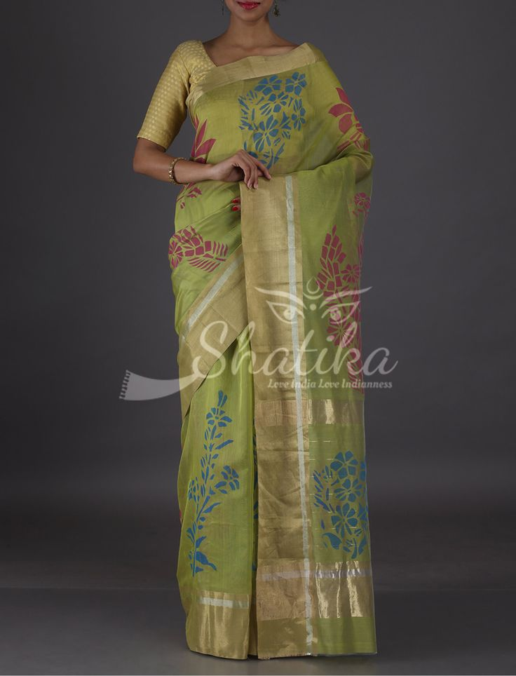 Dimple Colorful Flowers Pastel Green Smart Pure #ChanderiBlockPrintSaree