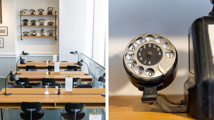 Aerogram Studio — Graphic and Interior design for Café Ferdinand in the Vodafone flagship store in Hamburg. Custom school desks.