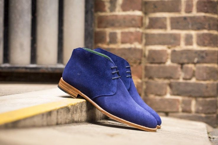 Handmade Men Royal blue Chukka boots, Men ankle boots, Men blue suede boots - Dress/Formal