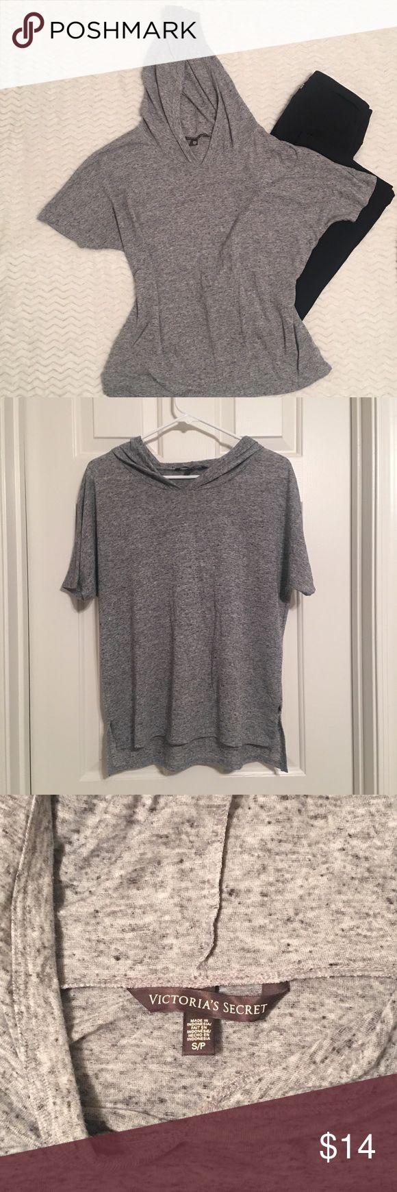 "Victoria's Secret Short Sleeve Hoodie VS gray hoodie with short sleeves, loose fitting for a relaxed fit, thin and lightweight, 85% polyester, 15% flax, Chest 40"", waist 39"", length 34"" in front, 36"" in back. Victoria's Secret Tops Sweatshirts & Hoodies"