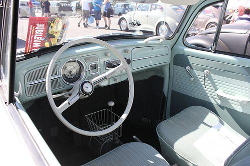 Classic VW Beetle interior - looks like mine, except mine has the original radio & black shifter