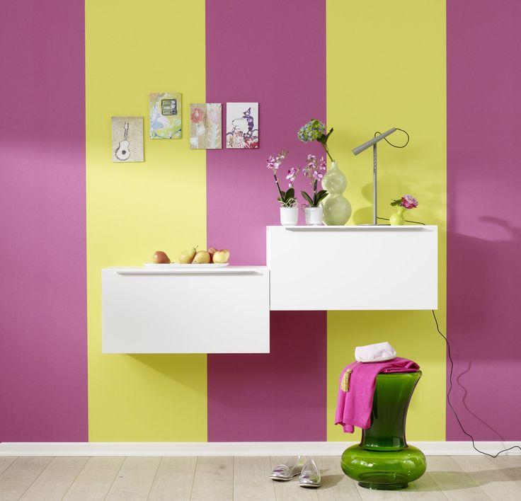 Die Kombination aus zweierlei Farben sorgt für gute Laune und gibt dem Raum einen gewissen Pep! Foto: Marburger Tapetenfabrik