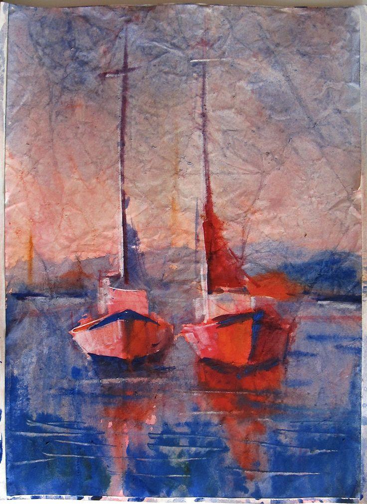 Olga Vinnitskaya. Aquarellmalerei mit Batik Effekt 1