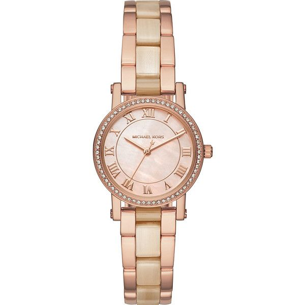 Michael Kors Petite Norie Three-Hand Watch - Rose Gold - Women's... ($250) ❤ liked on Polyvore featuring jewelry, watches, metalic, rose gold wrist watch, pink gold watches, michael kors, pink gold jewelry and red gold jewelry