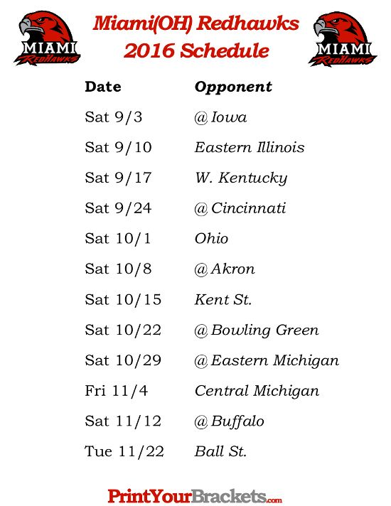 Printable Miami Ohio Redhawks 2016 Football Schedule
